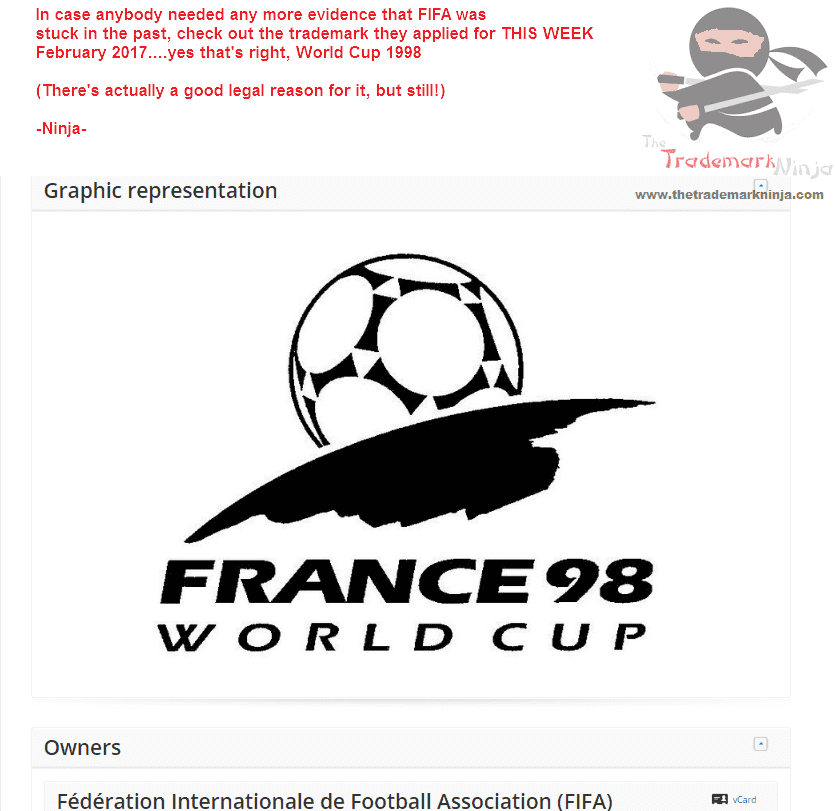 Those dinasours at <a href=http://twitter.com/Fifa target=_blank rel=nofollow data-recalc-dims=1>@Fifa</a> have just applied for a trademark for the World Cup Logo