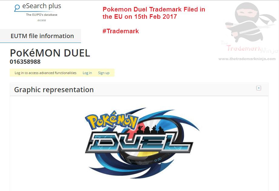 Trademark filed in EU by <a href=http://twitter.com/Nintendo target=_blank rel=nofollow data-recalc-dims=1>@Nintendo</a> for <a href=http://twitter.com/Pokemonduel target=_blank rel=nofollow>@Pokemonduel</a> pokemon duel pokemonduel