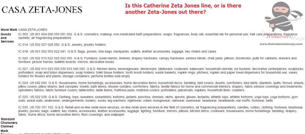Trademark for CasaZetaJones filed with the USPTO ZetaJones