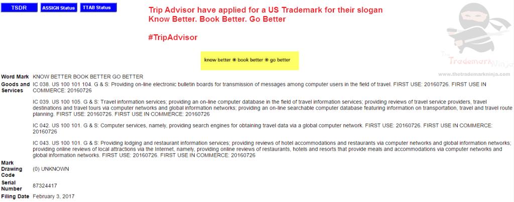Trip Advisor applies for US trademark for KnowBetter BookBetter GoBetter <a href=http://twitter.com/Tripadvisor target=_blank rel=nofollow data-recalc-dims=1>@Tripadvisor</a> Tripadvisor
