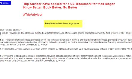 Trip Advisor applies for US trademark for KnowBetter BookBetter GoBetter @Tripadvisor Tripadvisor