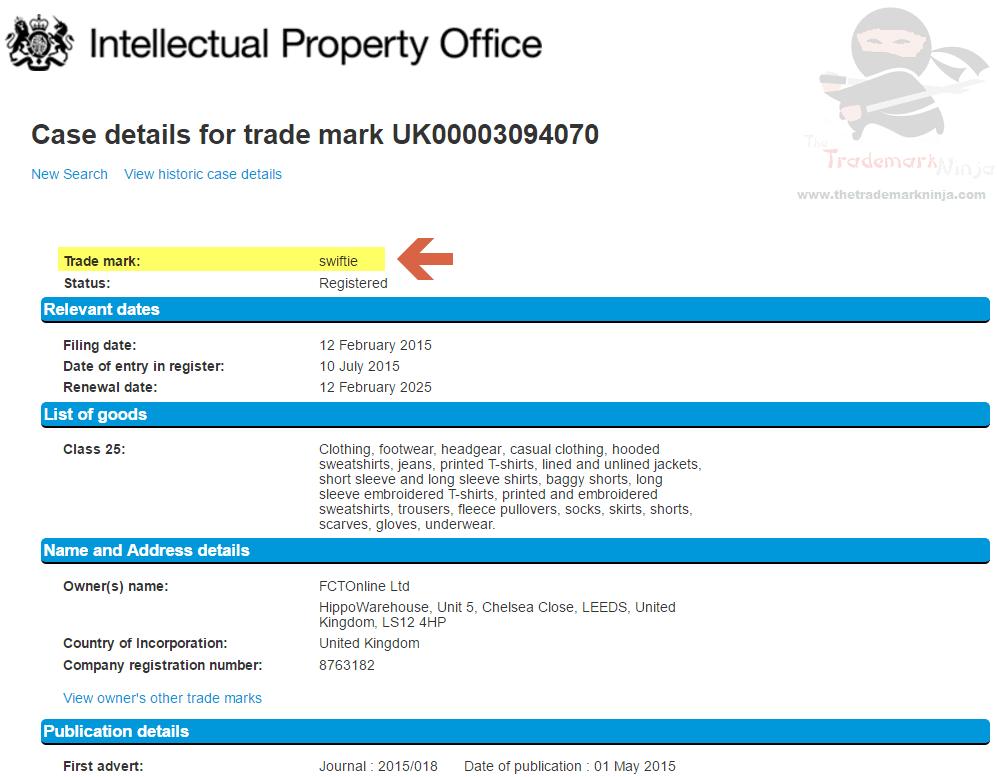 UK Swiftie Trademark Details