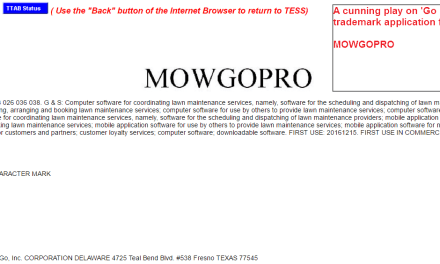 US Trademark application for MowGoPro GoPro