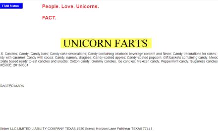 US Trademark application for UnicornFarts Unicorn Trademark