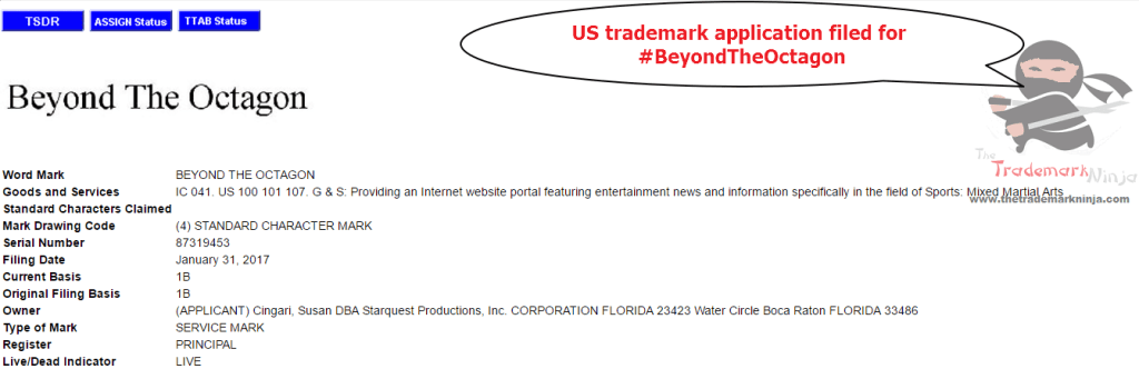 US trademarks Trademark Application for BeyondTheOctagon <a href=http://twitter.com/BeyondTheOctagon target=_blank rel=nofollow data-recalc-dims=1>@BeyondTheOctagon</a>