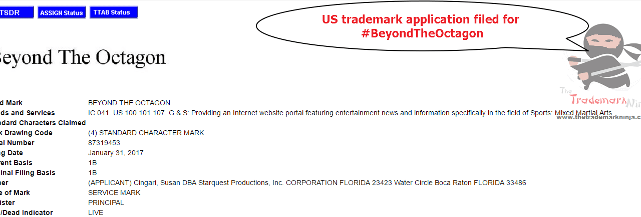 US trademarks Trademark Application for BeyondTheOctagon @BeyondTheOctagon