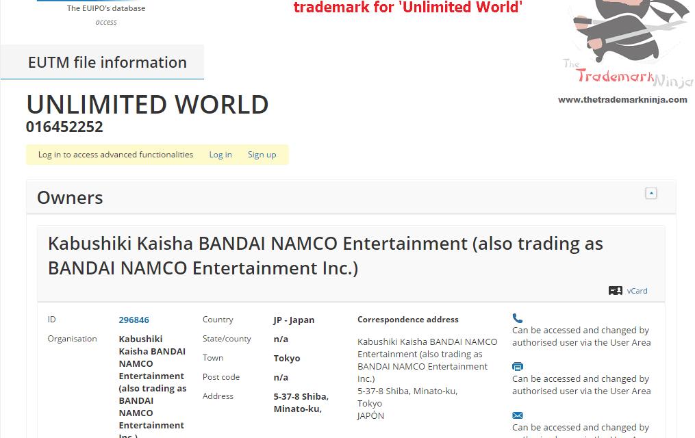 An EU Trademark application has been filed by @NamcoBandai for UnlimitedWorld Namco Bandai