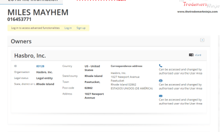 Another MASK trademark application from @Hasbro this time for MilesMayhem Hasbro