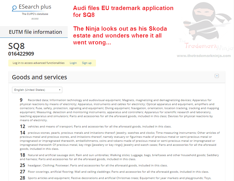 Audio files EU trademark application for SQ8 Audi @Audi Q8