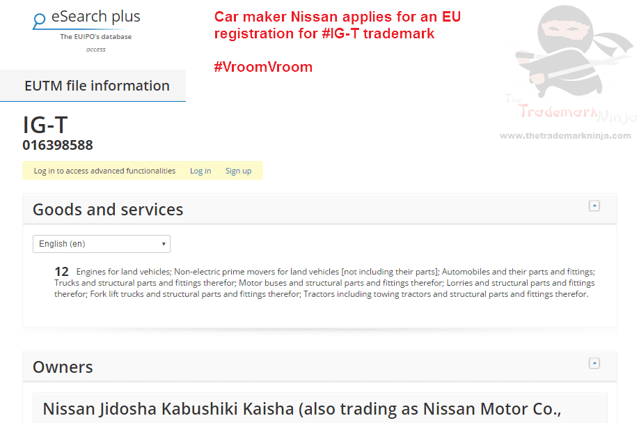Car giant @Nissan applies for IGT trademark in the EU Nissan IG T
