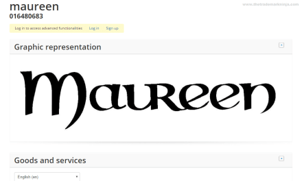 EU Trademark application for Maureen for lots of things including Christmas Decorations but not lights
