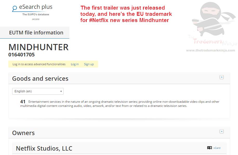 Heres the <a href=http://twitter.com/NetflixUK target=_blank rel=nofollow data-recalc-dims=1>@NetflixUK</a> trademark application for Mindhunter which has just been filed Netflix