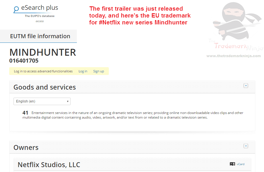 Heres the @NetflixUK trademark application for Mindhunter which has just been filed Netflix