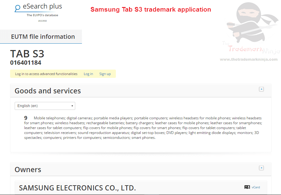Heres the @SamsungUK trademark application for TabS3 S3 Samsung