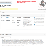 Renault applies for an EU trademark for AlpineA110 Renault Alpine
