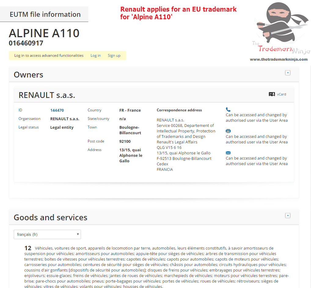 Renault applies for an EU trademark for AlpineA110 Renault Alpine