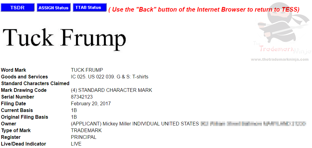 Tuck Frump trademark application suggests he doesnt want to truck frump at all truckfrump
