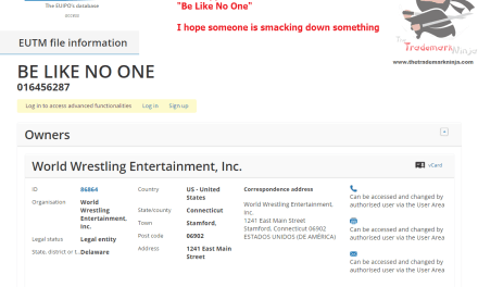 the @Wwe applies for an EU Trademark for BeLikeNoOne WWE