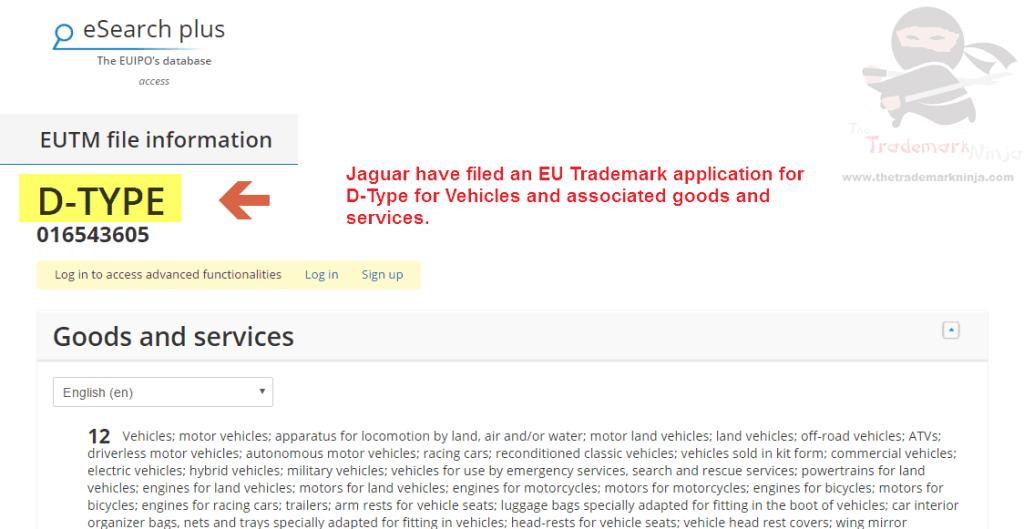 Another <a href=http://twitter.com/Jaguar target=_blank rel=nofollow data-recalc-dims=1>@Jaguar</a> trademark application across the EU this time for DType D Type Jag Jaguar
