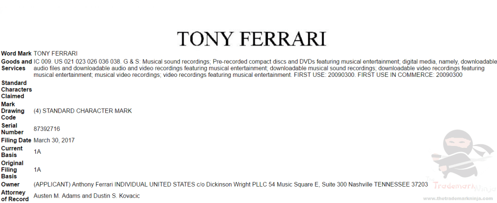US musician TonyFerrari applies for US Trademark for his name <a href=http://twitter.com/IamTonyFerrari target=_blank rel=nofollow data-recalc-dims=1>@IamTonyFerrari</a>