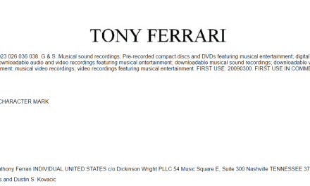 US musician TonyFerrari applies for US Trademark for his name @IamTonyFerrari