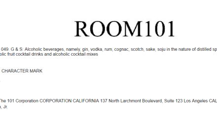US trademark application for Room101 booze