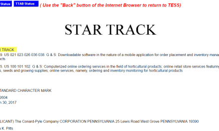 US trademark for StarTrack may be a little too close to StarTrek for comfort perhaps