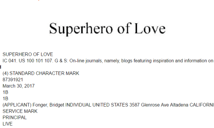 US trademark for Superhero of Love could POTENTIALLY raise some Superhero trademark issues