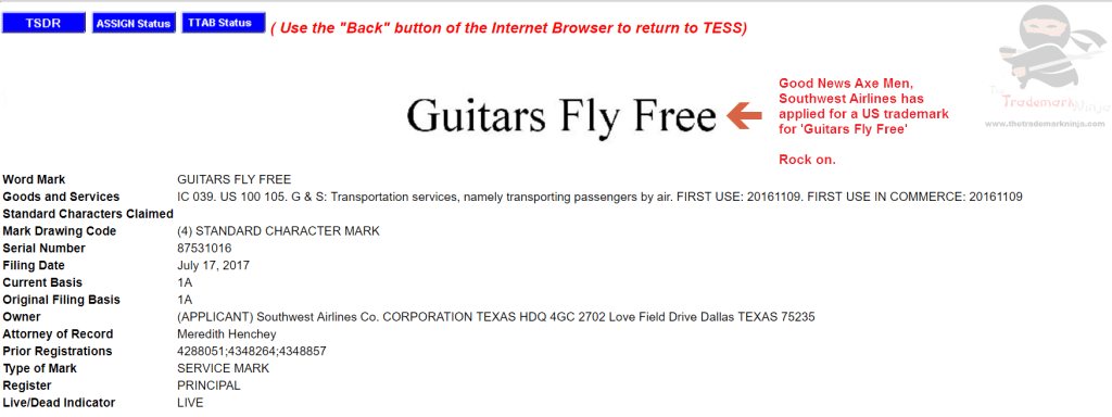 Guitars Fly Free according to this trademark filed by <a href=http://twitter.com/southwest target=_blank rel=nofollow data-recalc-dims=1>@southwest</a> SouthwestAirlines Guitars Trademarks