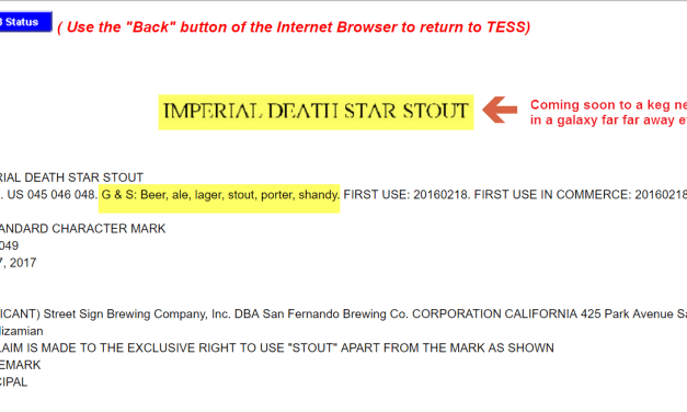Imperial Death Star Stout seems unlikely to get their trademark but Ill drink to it anyway DeathStar Trademark