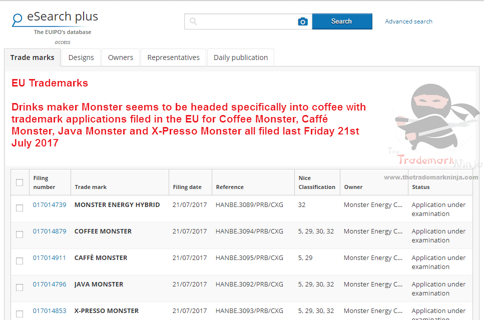 Looks like <a href=http://twitter.com/MonsterEnergy target=_blank rel=nofollow data-recalc-dims=1>@MonsterEnergy</a> are moving into coffee as well as caffeinated drinks CoffeeMonster JavaMonster Monster Tradeamarks