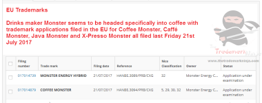 Looks like @MonsterEnergy are moving into coffee as well as caffeinated drinks CoffeeMonster JavaMonster Monster Tradeamarks