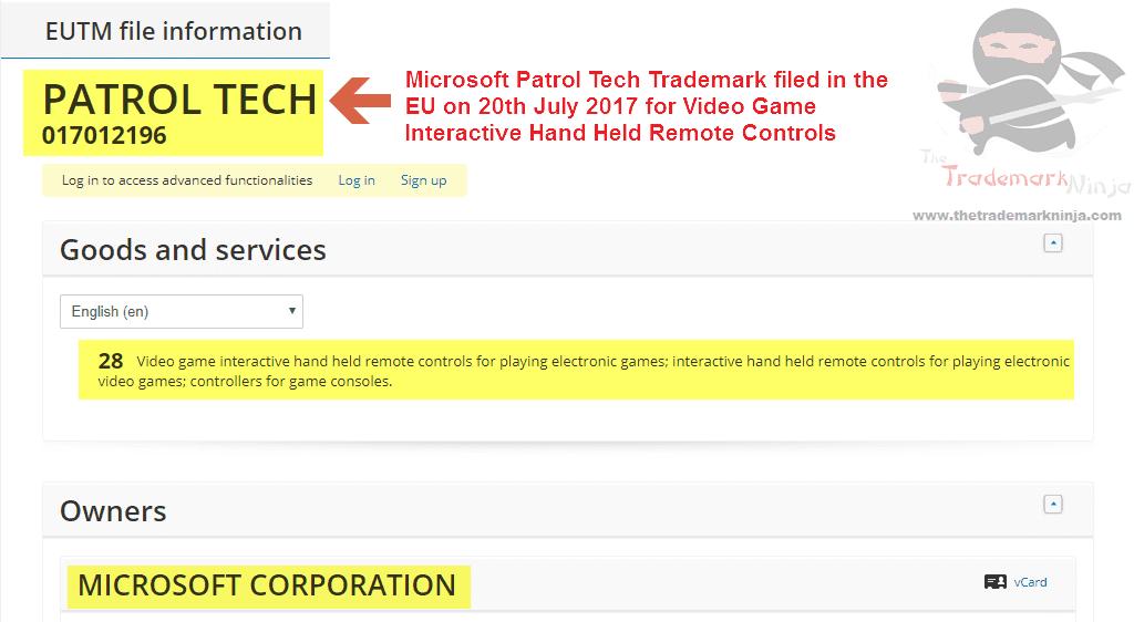 Microsoft Patrol Tech Trademark Application