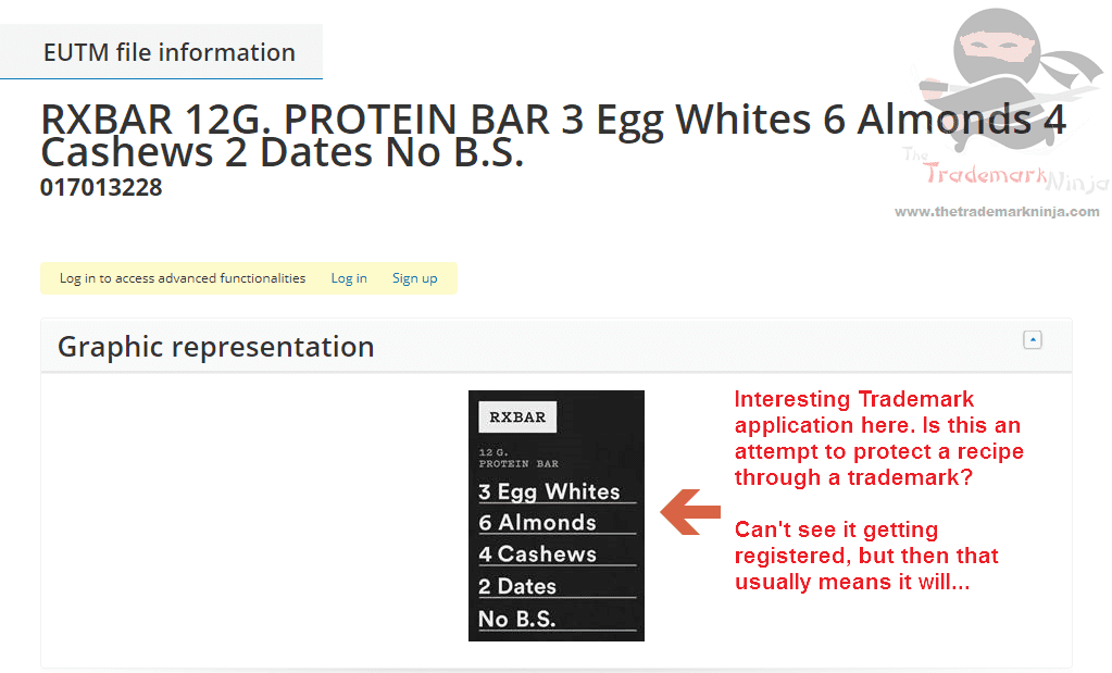 Trademark application for ingrediets raises some intersting questions RXBar NOBS