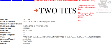 Two Tits Vodka What a time to be alive TwoTits Vodka Trademark