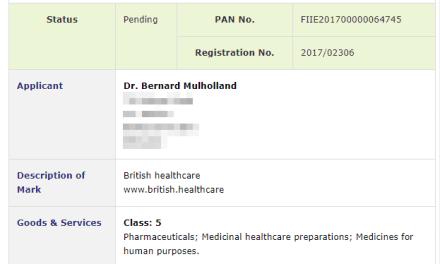 British Healthcare Irish trademark application for British Healthcare and web address #Trademark #TrademarkIreland