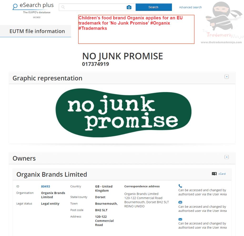 Childrens food brand Organix applies for an EU trademark for No Junk Promise Organix Trademarks