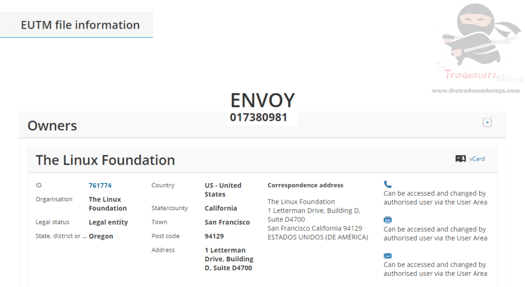 ENVOY The Linux Foundation applies for EUTM for Envoy as a trademark in the EU Linux