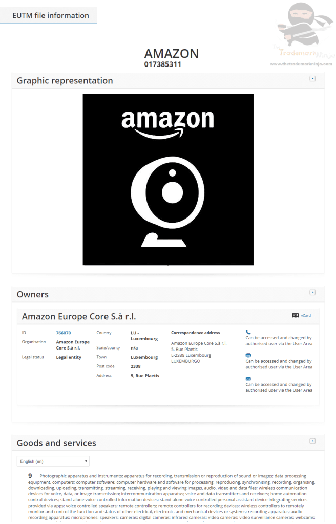 EUTM Amazon Applies for EU Trademark for their Cloud Cam logo CloudCam AmazonCloudCam Trademark