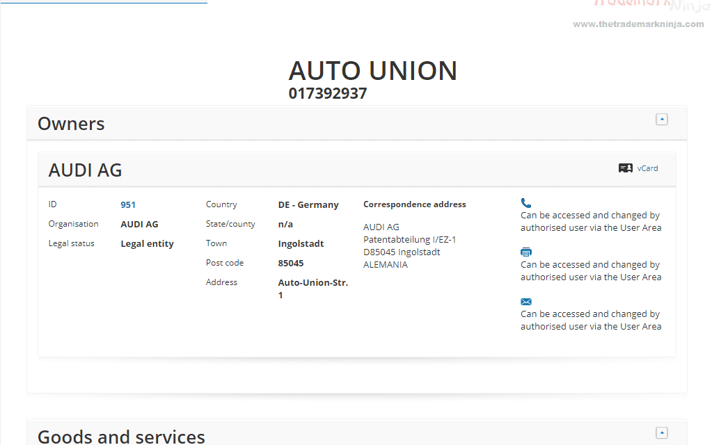 EUTM – Audio Applies for a European Trademark for #AutoUnion #Audi #Trademark #EUTM
