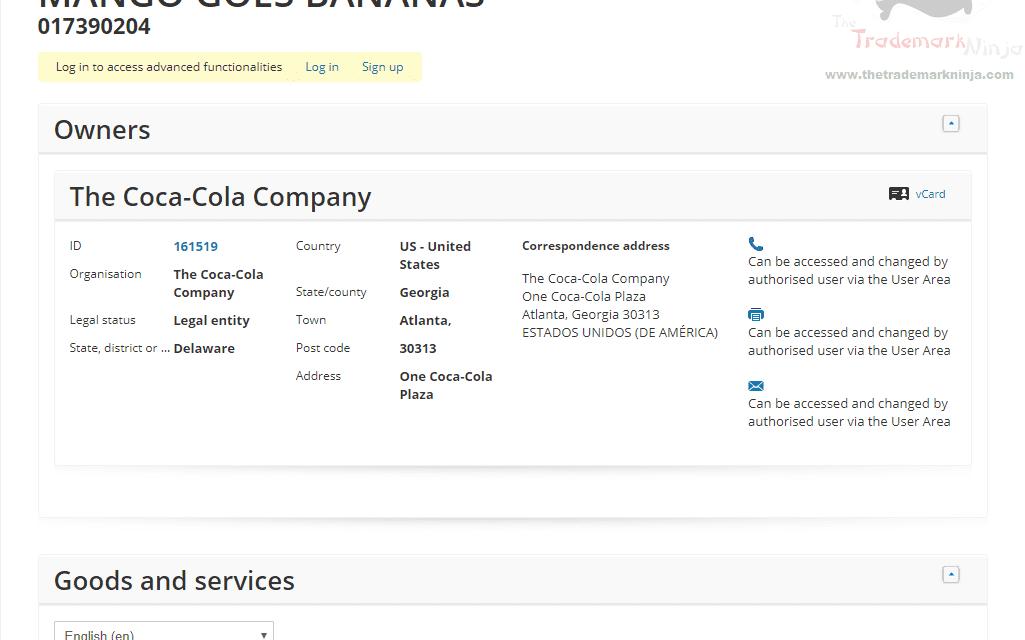 EUTM – Coca Cola applies for EU Trademark for Mango Goes Bananas #Coke #MangoGoesBananas #Trademark