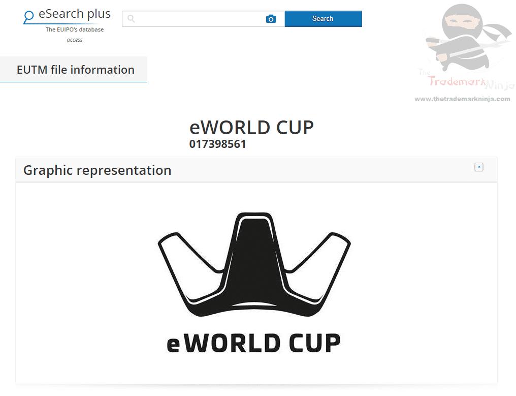 EUTM European Trademark Applicatino for E World Cup filed EWorldCup WorldCup ESports