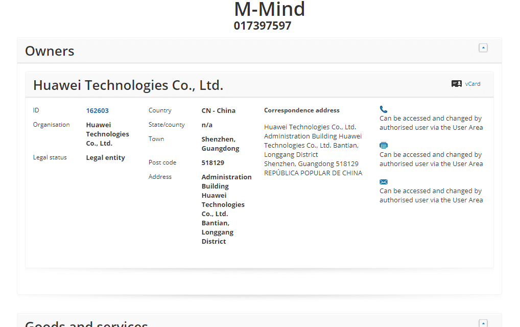 EUTM – Phone maker Huawei applies for a European Trademark for M Mind #MMIND #Huawei #Trademark