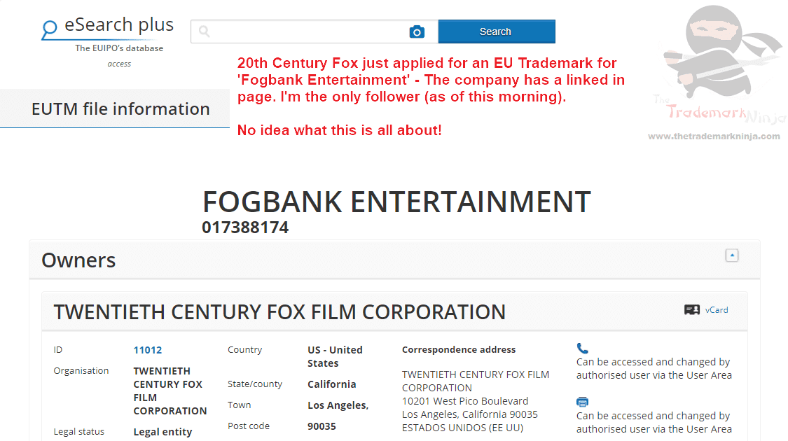 Fogbank Entertainment - 20th Century Fox applies for EU