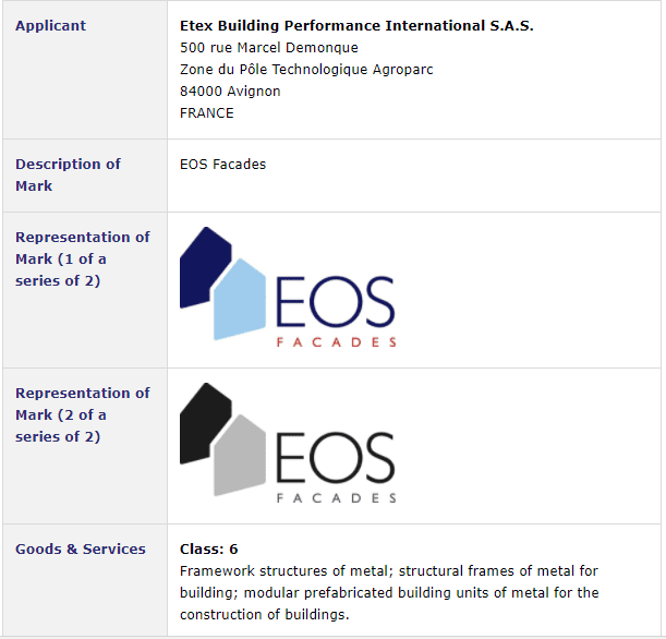 French company applies for Irish Tradmark for #EOSFacades #EOS #TrademarkIreland