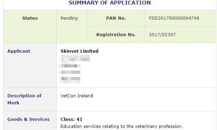 Irish Trademarks Application filed for VetCon Ireland with Irish Patents Office #VetCon #VetConIreland