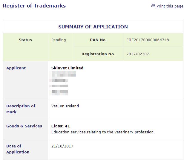 Irish Trademarks Application filed for VetCon Ireland with Irish Patents Office VetCon VetConIreland