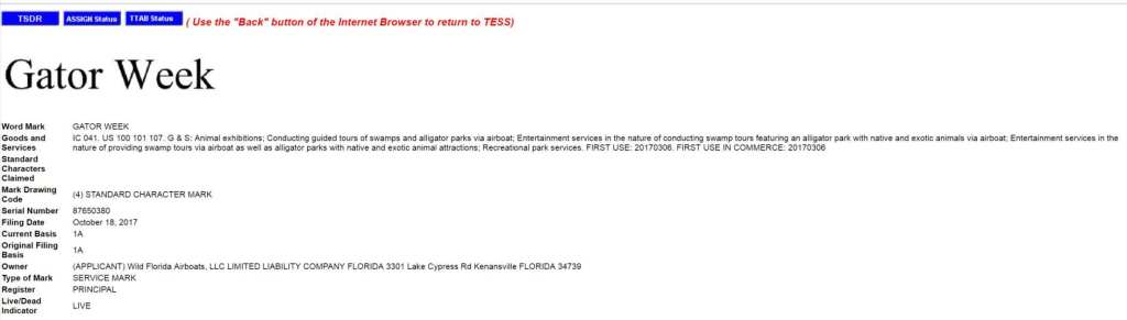 Never change America never change GatorWeek trademark application filed in the US USTrademark