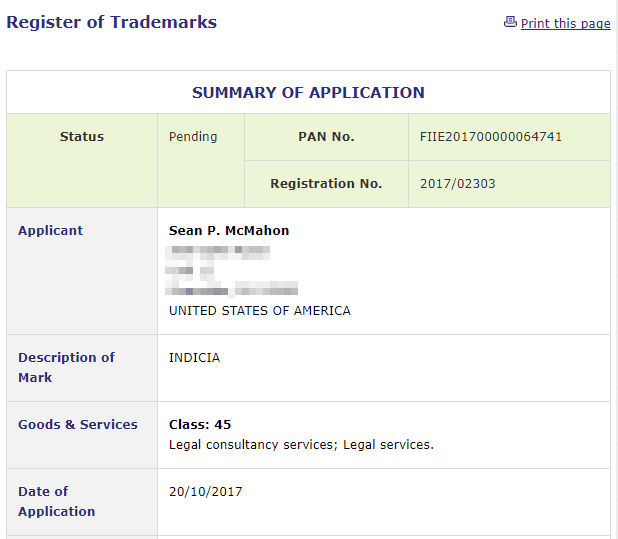 New Legal Provider coming soon Trademark application for Indicia for legal services filed in Ireland Trademark