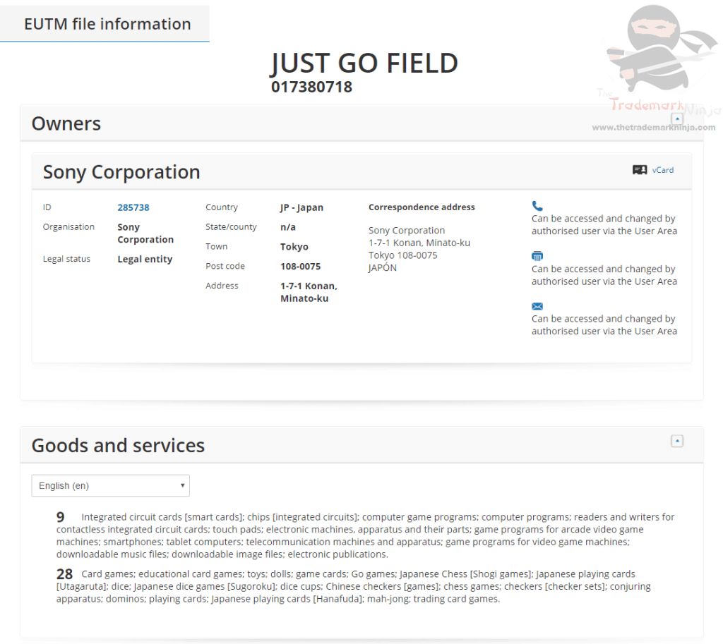 Sony applies for JustGoField as a trademark for some fairly specific goods Sony JustGoField